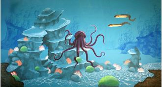 Picture of Backdrop Underwater Fantasy: Coral Reef Octopus  12m x 6m