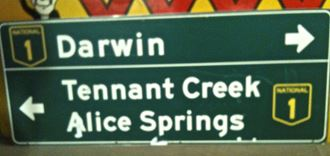Picture of Sign Darwin Alice Springs