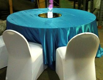 Picture of Tablecloth Aqua Blue Satin 3.3m round