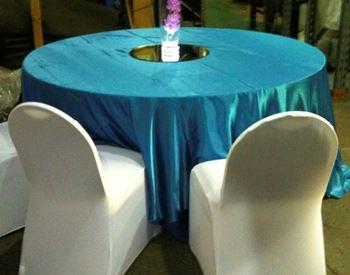 Picture of Tablecloth Aqua Blue Satin 3.3m round