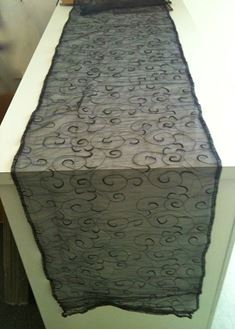 Picture of Table Runner Black Embossed Net