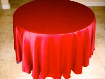 Picture of Tablecloth Red Satin 3.3m round