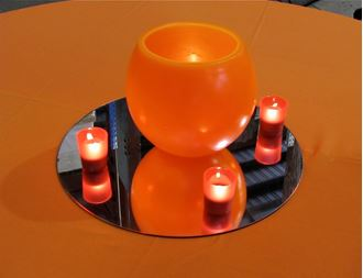Picture of Centrepiece Wax Lantern Orange