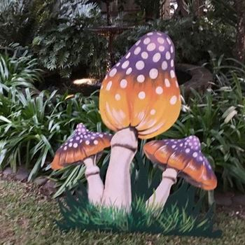 Picture of Cutout Toadstool Mushroom 1 - Purple & Yellow