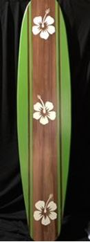 Picture of Surfboard Cutout 10 - Brown/Green with white hibiscus