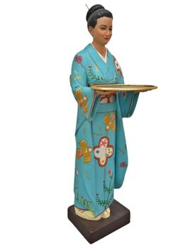 Picture of Japanese Waitress statue with service tray