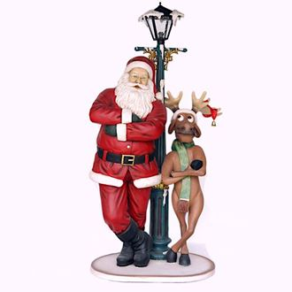 Picture of Santa & Reindeer with street lamp