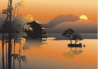 Picture of Japanese Sunset - Backdrop