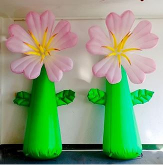 Picture of Inflatable Pink Flowers on stems 3mH